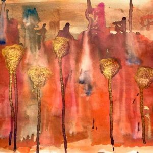 Christine Sparks, Outside, the World Awaited Them, A3 Watercolour, 2020
